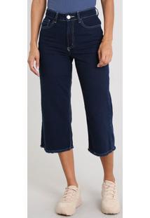 Calça Jeans Feminina Pantacourt Com Barra Desfiada Azul Escuro