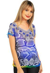 Blusa 101 Resort Wear Tunica Branca/Azul