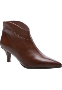 Ankle Boot Em Couro Com Recortes - Marrom- Salto: 6Carezzo & Co.