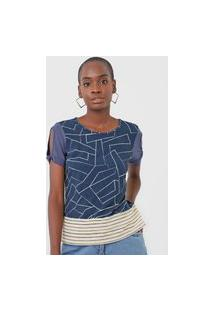 Blusa Cativa Geométrica Azul-Marinho/Off-White
