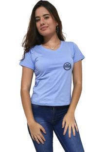 Camiseta Feminina Gola V Cellos Postmark Premium Azul Claro - Kanui