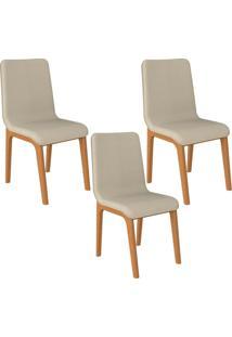 Kit 03 Cadeiras Decorativas Sala De Jantar Madeira Champagne Lins Linho Bege - Gran Belo