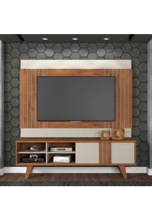 Rack Com Painel Para Tv Até 50 Polegadas Paraty Marrom E Cinza 180 Cm