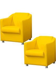 Kit 02 Poltronas Decorativas Para Sala E Escritório Laura Corino Amarelo - Lyam Decor