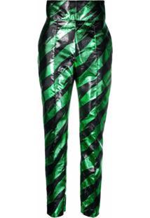 Alexandre Vauthier Calça Cintura Alta Com Listras - Verde
