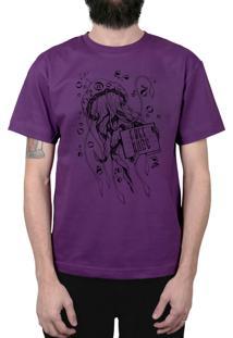 Camiseta Bleed American Free Hugs Roxa
