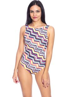 Body Moda Vicio Regata Decote Costas Zig Zag Colorido