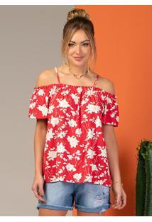 Blusa Ciganinha Com Alça Floral Vermelha