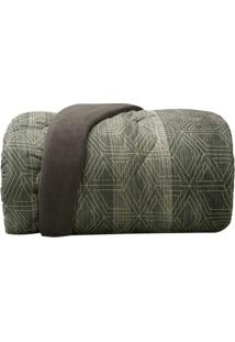 Edredom New Confort Casal- Cinza & Verde- 190X230Cm