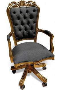 Cadeira Luiz Xv Giratória Em Capitone Com Pinturas E Tecidos Personalizados