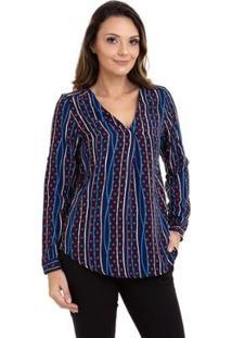 Blusa Kinara Crepe Estampada Feminina - Feminino-Azul