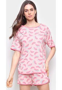 Pijama Curto Hering Melância Feminino - Feminino-Rosa Claro