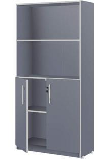 Estante Para Escritório 2 Portas Pop 162Cm Plata Móveis Azul/Cinza