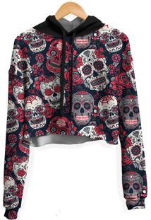 Blusa Cropped Moletom Feminina Over Fame Caveiras Mexicanas - Preto - Feminino - Poliã©Ster - Dafiti