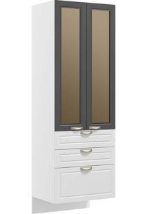 Paneleiro Suspenso 2 Portas Com Vidro Reflecta E 3 Gavetas Nevada 5628Svd-Multimóveis - Branco Premium / Grafite Premium / Branco Premium