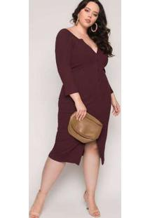 Vestido Almaria Plus Size Lady More Canelado Vinho Vermelho