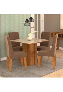 Conjunto De Mesa De Jantar Quadrada Rafaela Com 4 Cadeiras Milena Suede Chocolate E Off White