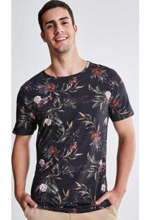 Camiseta Estampada Floral Preta