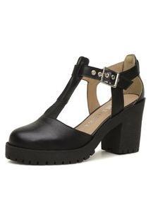 Sandália Cut Out Feminina Ousy Shoes Couro Legítimo Clássica Preta