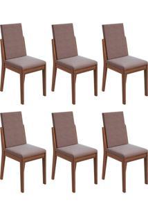 Conjunto Com 6 Cadeiras Lira Imbuia E Rose