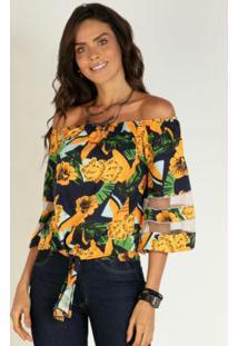 Blusa Ciganinha Floral Amarelo Com Recortes