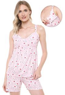 Pijama Malwee Liberta Maternidade Estampado Rosa