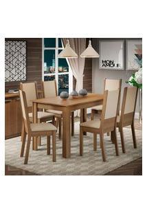 Conjunto Sala De Jantar Amanda Madesa Mesa Tampo De Madeira Com 6 Cadeiras Marrom