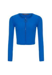 Blusa Feminina Tricot Cropped Zíper Klein - Azul
