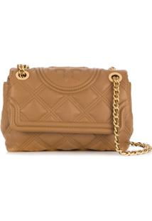 Tory Burch Branded Quilted Crossbody Bag - Marrom