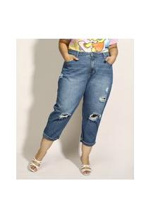 Calça Jeans Feminina Plus Size Sawary Baggy Cintura Alta Destroyed Com Martingale Azul Escuro
