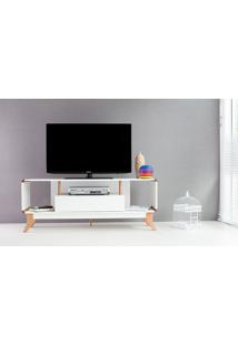 Rack Branco Para Tv Retrô Vintage Prestage 1 Gaveta 1,4M Mdf Com Pés Madeira Cor Jatobá - 140X40X55 Cm