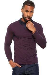 Camisa Polo Malwee Textura Vinho