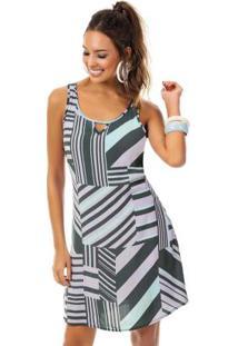 Vestido Com Estampa Geométrica Roxo
