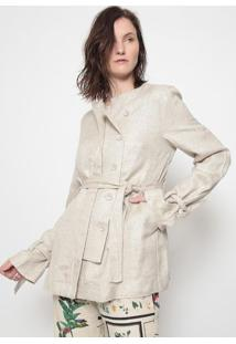 Trench Coat Com Linho-Off Whiteosklen