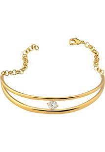 Bracelete Duplo Cristal Solitário Banhado A Ouro 18K - Kanui