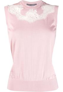 Dolce & Gabbana Regata Com Recorte De Renda - Rosa