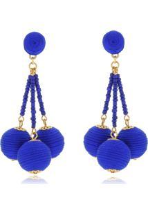 Brinco Le Diamond Laura Esferas E Fios De Seda Azul Royal