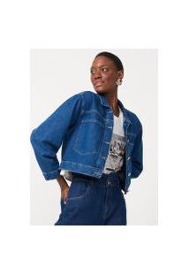 Amaro Feminino Jaqueta Jeans Bolsos Amplos, Azul Médio