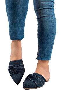 Sapatilha Mule Bico Fino Jeans