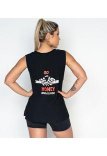 Regata Fitness Viscolycra Tule Honey Be Feminina - Feminino-Preto