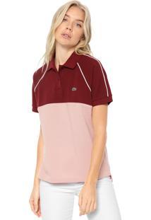 Camisa Polo Lacoste Reta Color Block Vinho/Rosa