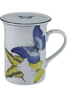 Caneca Porcelana Schmidt 240 Ml - Dec. Borboletas Do Brasil
