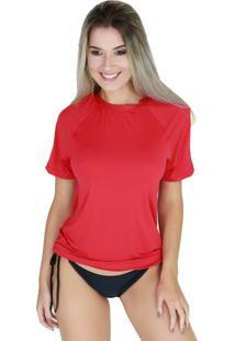 Camisa Térmica Curta Bravaa Modas Proteção Uv 038F Vermelha