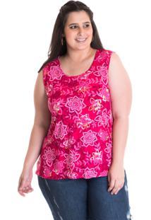 Regata Konciny Plus Size Viscose Pink Estampada 41211