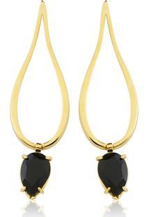 Brinco Toque De Joia Gota Invertida Pedra Quartzo Negro Ouro Amarelo - Kanui