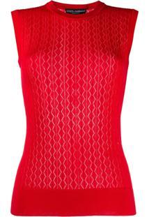 Dolce & Gabbana Colete Matelassê De Tricô - Vermelho