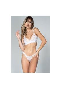 Conjunto Lingerie Bella Fiore Modas Com Renda E Aro Branco