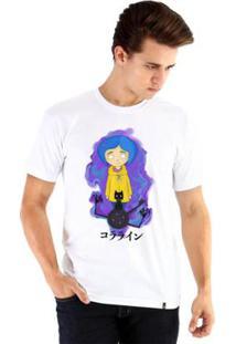 Camiseta Ouroboros Manga Curta Coraline - Masculino-Branco