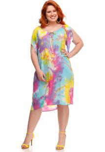 Vestido Melinde Plus Size Resort Tie Dye Amarelo