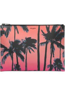 Saint Laurent Clutch Pink Palm Com Estampa - Rosa